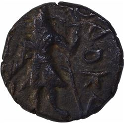 Copper Drachma Coin of Kanishka I of Kushana Dynasty of Moon Type.