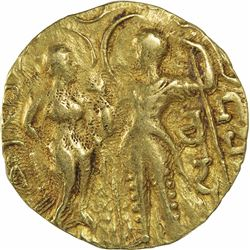 Very Rare Gold Dinar Coin of Samudragupta of Gupta Dynasty of King, Queen and Lion to Right Type.