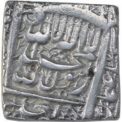 Silver Square One Rupee Coin of Akbar of Fathpur Dar Ul Sultanate Mint.