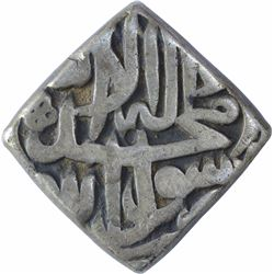 Rare Silver Square One Rupee Coin of Akbar of Lahore Mint.