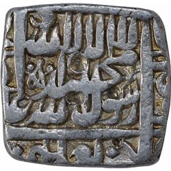 Silver Square One Rupee Coin of Akbar of Lahore Dar-Ul- Sultanat Mint.