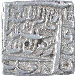 Silver Square One Rupee Coin of Akbar of Urdu Zafar Qarin Mint.