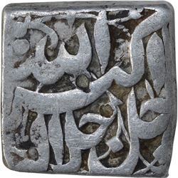 Silver Square One Rupee Coin of Akbar of Mihr Month.