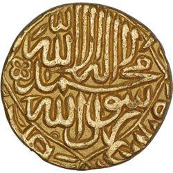 Gold Mohur Coin of Akbar of Hadrat Dar ul Mulk Delhi Mint.