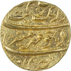 Gold Mohur Coin of Aurangzeb of Burhanpur Mint.