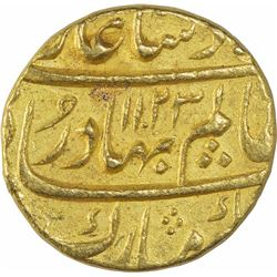 Gold Mohur Coin of Shah Alam Bahadur of Khujista Bunyad Mint.