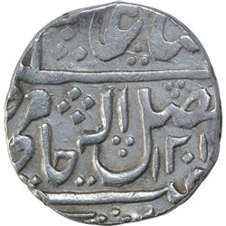 Silver One Rupee Coin of Ujjain Dar ul Fath Mint of Gwalior State.