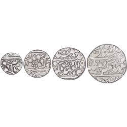 Set of Four Silver Rupee Coins of Madho Singh II of Sawai Jaipur Mint of Jaipur State.