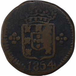 Copper Fifteen Reis Coin of Pedro V of Indo Portuguese.