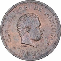 Bronze Half Tanga Coin of Carlos I of Portuguese Administration of Indo Portuguese.