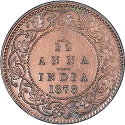 Copper One Twelfth Anna Coin of Victoria Empress of Calcutta Mint of 1878.