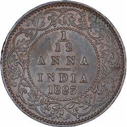 Copper One Twelfth Anna Coin of Victoria Empress of Calcutta Mint of 1883.