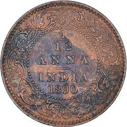 Copper One Twelfth Anna Coin of Victoria Empress of Calcutta Mint of 1890.