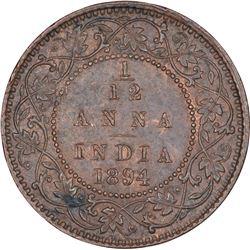 Copper One Twelfth Anna Coin of Victoria Empress of Calcutta Mint of 1894.