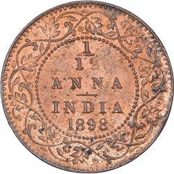 Copper One Twelfth Anna Coin of Victoria Empress of Calcutta Mint of 1898.