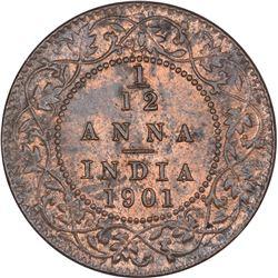 Copper One Twelfth anna Coin of Victoria Empress of Calcutta Mint of 1901.
