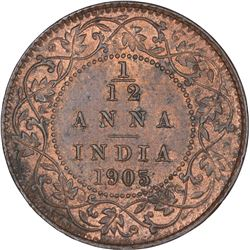 Copper One Twelfth Anna coin of King Edward VII of Calcutta Mint of 1905.