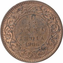 Copper One Twelfth Anna Coin of King Edward VII of 1906.