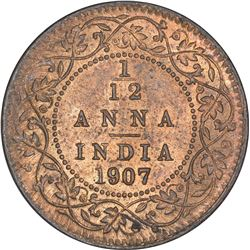 Bronze One Twelfth Anna Coin of King Edward VII of Calcutta Mint of 1907.