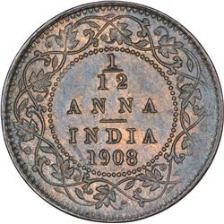 Bronze One Twelfth Anna Coin of King Edward VII of Calcutta Mint of 1908.