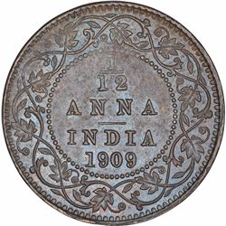 Bronze One Twelfth Anna Coin of King Edward VII of Calcutta Mint of 1909.