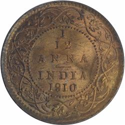 Bronze One Twelfth Anna coin of King Edward VII of 1910.