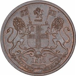 Copper Half Pice Coin of East India Company of Calcutta Mint of 1853.
