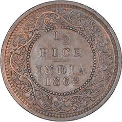 Copper Half Pice Coin of Victoria Queen of Calcutta Mint of 1862.