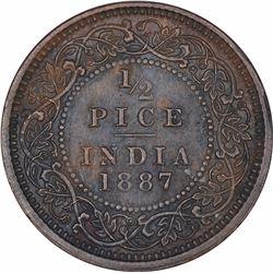 Copper Half Pice Coin of Victoria Empress of Calcutta Mint of 1887.