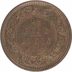 Copper Half Pice Coin of Victoria Empress of 1894.