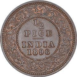 Copper Half Pice Coin of Victoria Empress of Calcutta Mint of 1896.