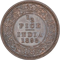 Copper Half Pice Coin of Victoria Empress of Calcutta Mint of 1898.