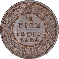 Copper Half Pice Coin of King Edward VII of Calcutta Mint of 1904.