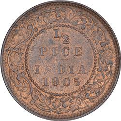 Copper Half Pice Coin of King Edward VII of Calcutta Mint of 1905.