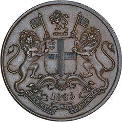 Copper One Quarter Anna Coin of East India Company of Calcutta Mint of 1835.