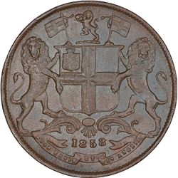 Copper One Quarter Anna Coin of East india Company of Birmingham Mint of 1858.