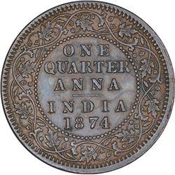 Copper One Quarter Anna Coin of Victoria Queen of Calcutta Mint of 1874.