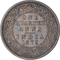 Copper One Quarter Anna Coin of Victoria Queen of Calcutta Mint of 1875.
