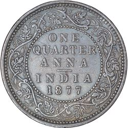 Copper One Quarter Anna Coin of Victoria Empress of Bombay Mint of 1877.