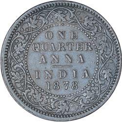 Copper One Quarter Anna Coin of Victoria Empress of Calcutta Mint of 1878.