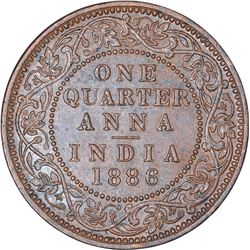 Copper One Quarter Anna Coin of Victoria Empress of Bombay Mint of 1886.