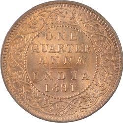 Copper Quarter Anna Coin of Victoria Empress of 1891.