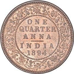 Copper One Quarter Anna Coin of Victoria Empress of Calcutta Mint of 1894.