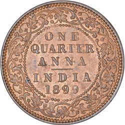 Copper One Quarter Anna Coin of Victoria Empress of Calcutta Mint of 1899.