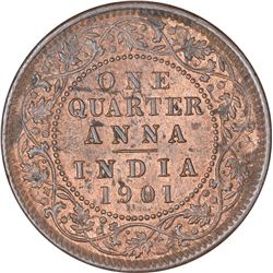 Copper One Quarter Anna Coin of Victoria Empress of Calcutta Mint of 1901.