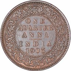 Copper One Quarter Anna Coin of King Edward VII of Calcutta Mint of 1903.