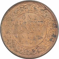 Copper Quarter Anna Coin of King Edward VII of 1904.