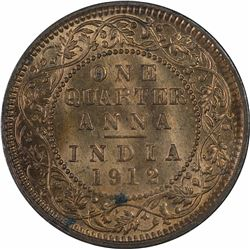 Copper One Quarter Anna Coin of King George V of 1912.