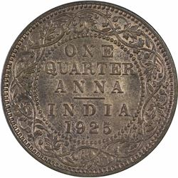 Copper One Quarter Anna Coin of King George V of 1925.