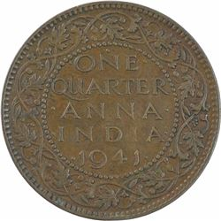 Bronze One Quarter Anna Coin of King George VI of 1941.